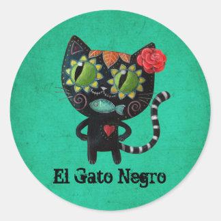 El día del gato negro muerto pegatina redonda