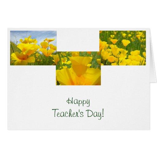 ¡El día del profesor feliz! La amapola de las tarj Tarjetón