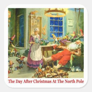 El día después del navidad en el Polo Norte Pegatina Cuadrada