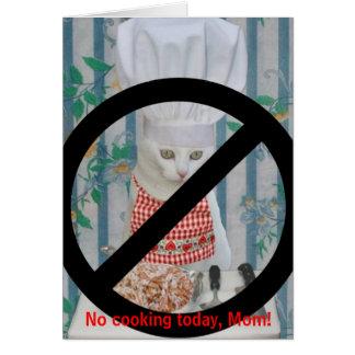 El día divertido de Cat Mother el ningún cocinar Tarjeta De Felicitación