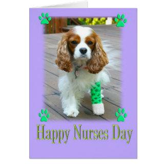 El día feliz de las enfermeras con los perros de a tarjeta de felicitación