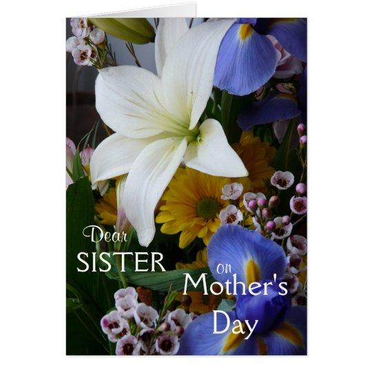 El Día-Hermana-Bonito de la madre feliz floral Tarjeta De Felicitación