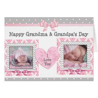 """Tarjeta El día """"te amo"""" tarjeta del abuelo rosado y gris"""