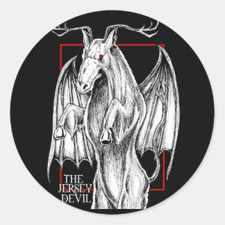 El diablo del jersey pegatina redonda