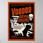 El diablo del vudú teclea el poster del vintage