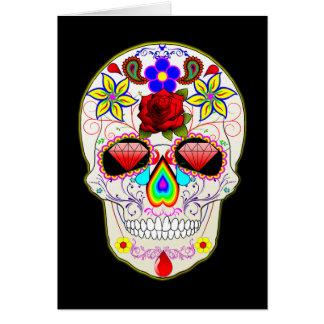 El diamante del cráneo del azúcar observa la tarjeta de felicitación
