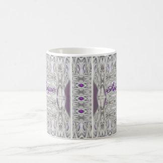 El diamante forma púrpura blanca negra con nombre taza de café
