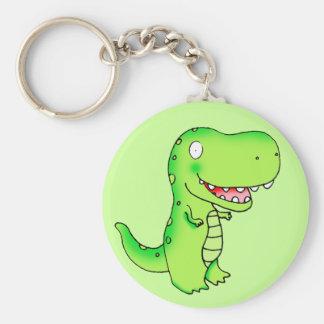 el dibujo animado embroma el dinosaurio T-rex Llavero Redondo Tipo Chapa
