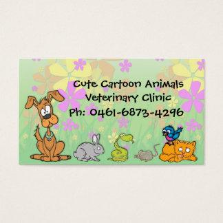 El dibujo animado lindo acaricia al veterinario tarjeta de negocios