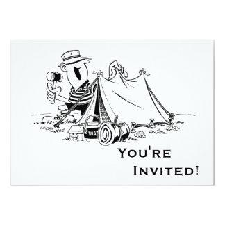El dibujo animado personalizado acampa hacia fuera invitación 12,7 x 17,8 cm
