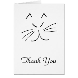 El dibujo lineal de un gato le agradece cardar tarjeta pequeña