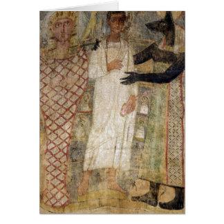 El difunto y su momia protegidos por Anubis Tarjeta