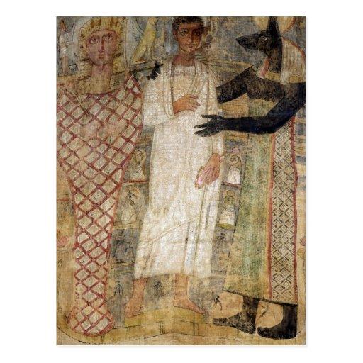 El difunto y su momia protegidos por Anubis Postales