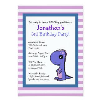 El dinosaurio azul lindo con cumpleaños de las invitaciones personalizada
