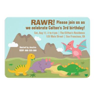 El dinosaurio colorido embroma a la fiesta de anuncio
