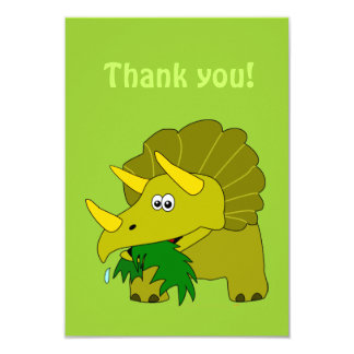El dinosaurio del dibujo animado del Triceratops Invitación 8,9 X 12,7 Cm