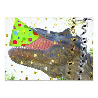 El dinosaurio del juerguista del cumpleaños invita invitación