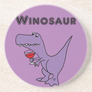El dinosaurio divertido con el vino es un Winosaur Posavasos De Arenisca