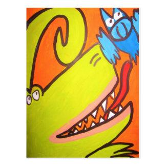 El dinosaurio verde está después del pájaro azul postal
