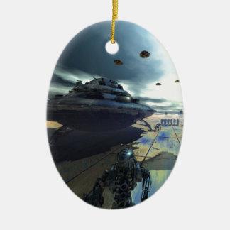 el disco estupendo adorno navideño ovalado de cerámica