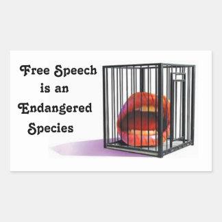 El discurso libre es una especie en peligro pegatina rectangular