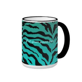 El diseño de la cebra de la aguamarina de Mug~ Taza De Dos Colores