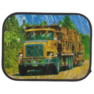 El diseño del andamio del camionero amarillo del c alfombrilla de coche