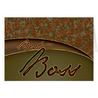 El diseño marrón de oro del mejor jefe tarjeta de felicitación