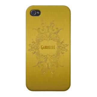 El diseño metálico de los tonos del oro cepilló la iPhone 4/4S fundas