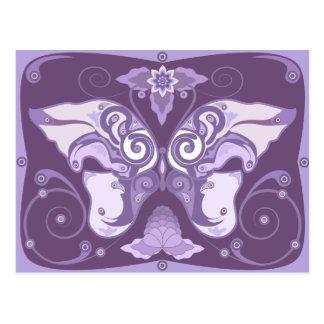El diseño violeta decorativo de la postal