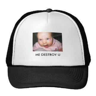 el divertido-bebé-imagen-enojado-bebé, YO DESTRUYE Gorro