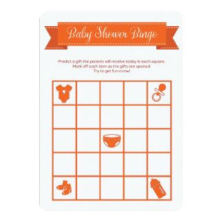 El doble anaranjado del juego del bingo de la invitación 12,7 x 17,8 cm