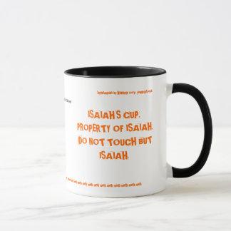 el doble de la taza de Isaías echó a un lado -