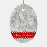El doble echó a un lado ornamento oval de la foto ornamento de navidad