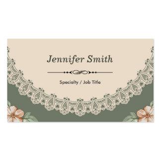 El doble elegante del estampado de flores de la pr tarjeta de visita