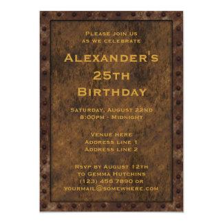El doble enmarcado hierro del cumpleaños de los invitacion personalizada