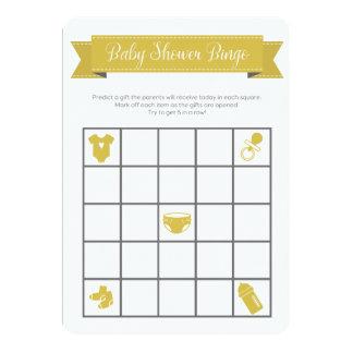 El doble gris amarillo del juego del bingo de la invitación 12,7 x 17,8 cm