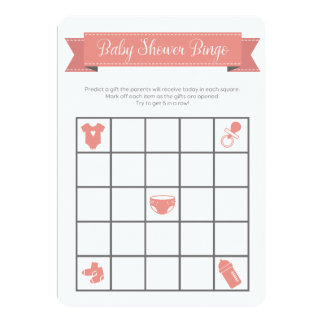 El doble gris coralino del juego del bingo de la invitación 12,7 x 17,8 cm