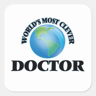 El doctor más listo del mundo pegatinas cuadradas