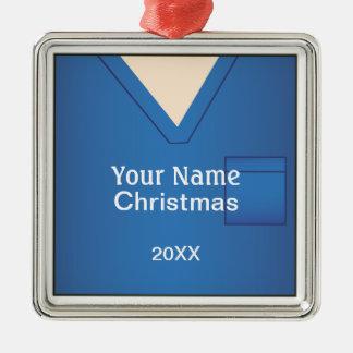 El doctor Scrubs Christmas Blue Premium 2 de la Adorno Navideño Cuadrado De Metal