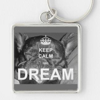 El dogo francés guarda sueño tranquilo llavero cuadrado plateado