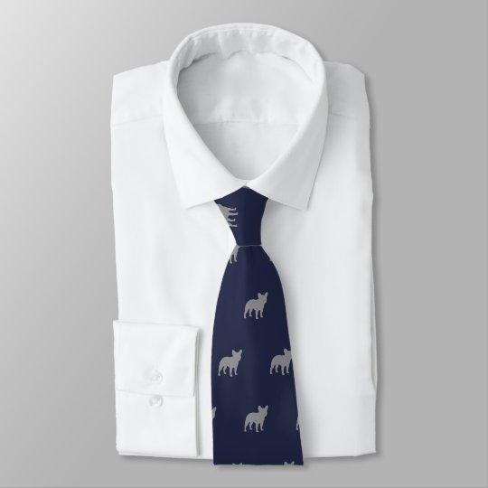 El dogo francés siluetea el azul del modelo corbata personalizada