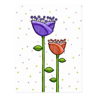 El Doodle de la diversión florece la postal púrpur