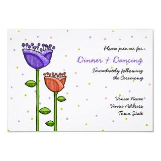 El Doodle de la diversión florece la recepción Invitación 8,9 X 12,7 Cm