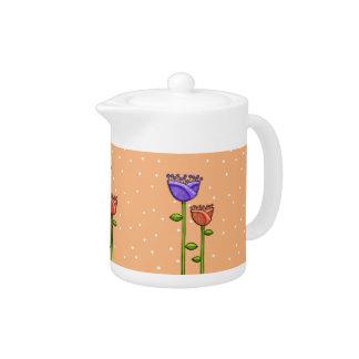 El Doodle de la diversión florece la tetera púrpur