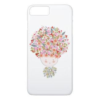 El Doodle florece la cara hermosa del chica Funda iPhone 7 Plus
