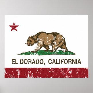 EL Dorado de la bandera de la república de Califor Impresiones
