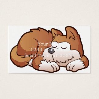El dormir lindo del dibujo animado del perrito tarjeta de negocios