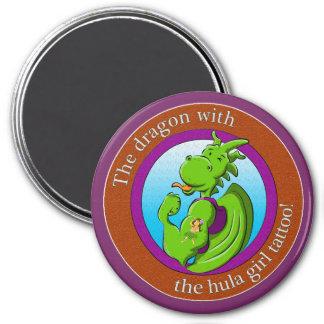 El dragón con el tatuaje del chica de hula imán redondo 7 cm