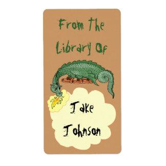 El dragón del Bookplate respira nombre de la Etiquetas De Envío